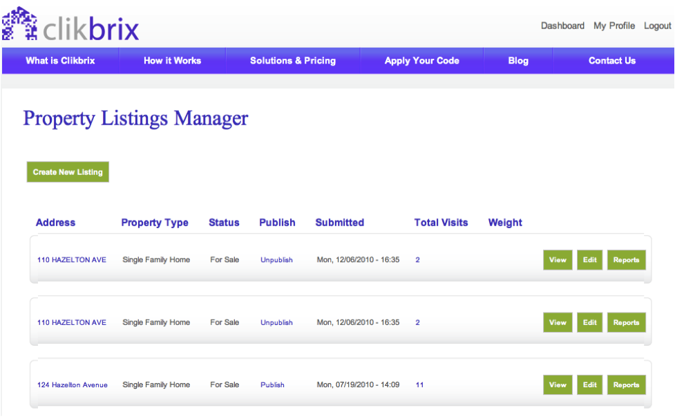 clikbrix property listings mgr