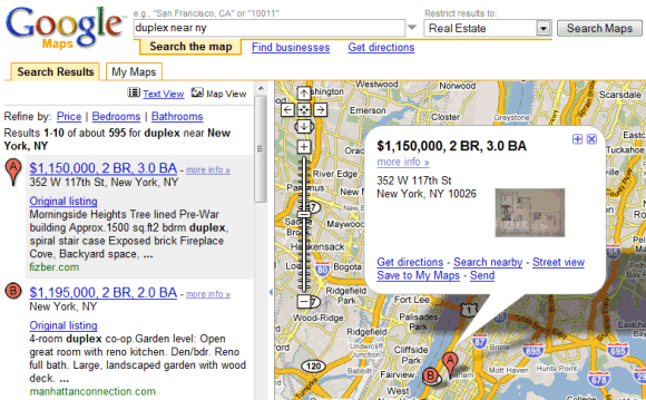 google maps real estate search